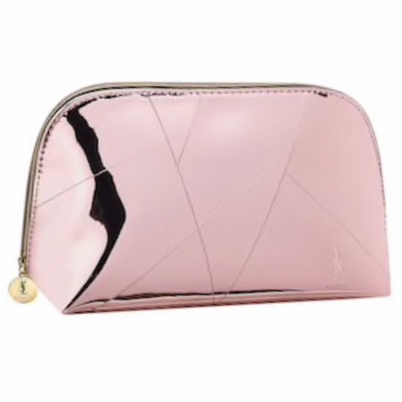 b0701ddef774 YSL Beaute Light Pink Metallic Cosmetic Bag NWT